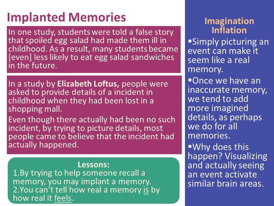 summarize elizabeth loftus research lost in the mall In this chapter, the author talks about elizabeth loftus's research about human memory loftus says that there exists a very thin curtain between memory and imagination.