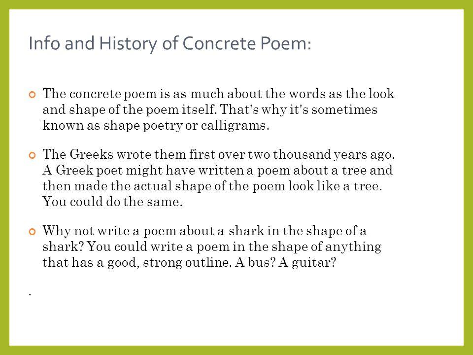 How do you write a concrete poem