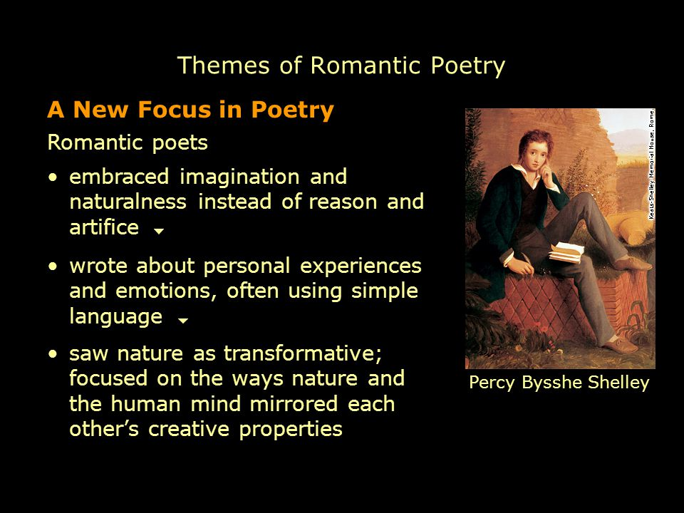 themes in romantic poetry The german poet friedrich schlegel, who is given credit for first using the term  romantic to describe literature, defined it as literature depicting emotional matter .