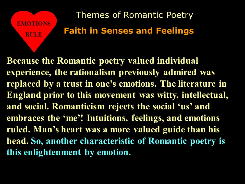 literary elements of the romantic period direct essays In direct opposition to renaissance attitudes,  literary genres:  neoclassical literature: definition, characteristics & movement related study materials.