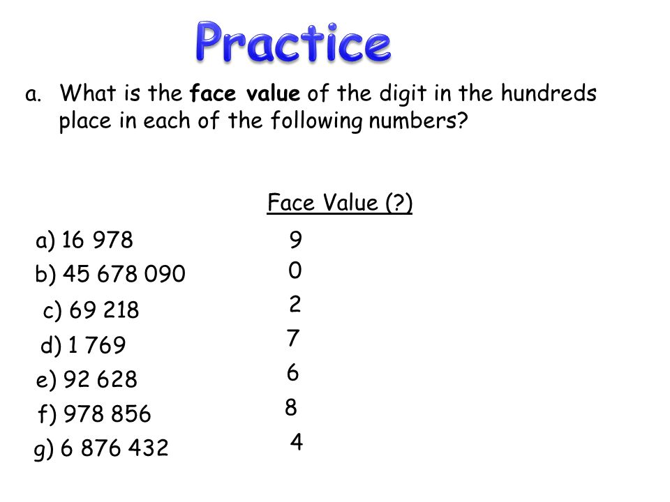 Practice What is the face value of the digit in the hundreds place in each of the following numbers