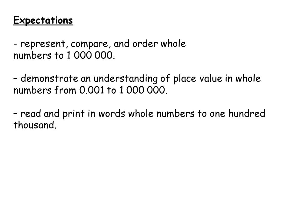 Expectations - represent, compare, and order whole. numbers to 1 000 000.
