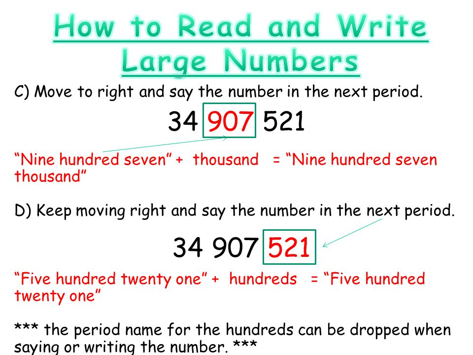 how to write out numbers