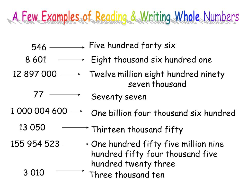 reading writing and rounding whole numbers