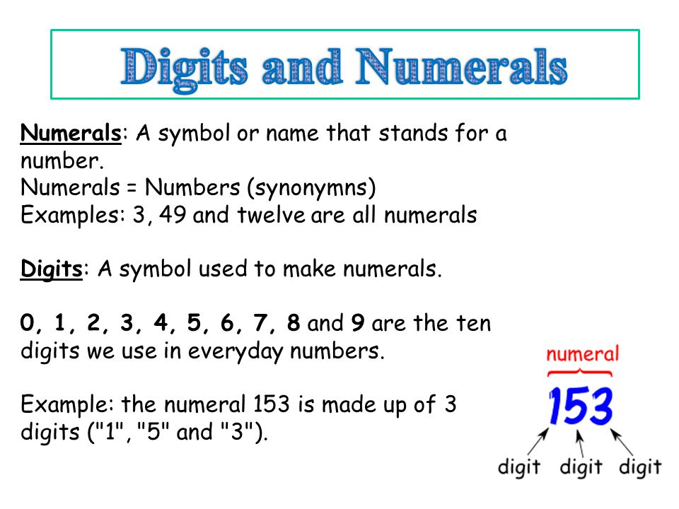 Digits and Numerals Numerals: A symbol or name that stands for a number. Numerals = Numbers (synonymns)