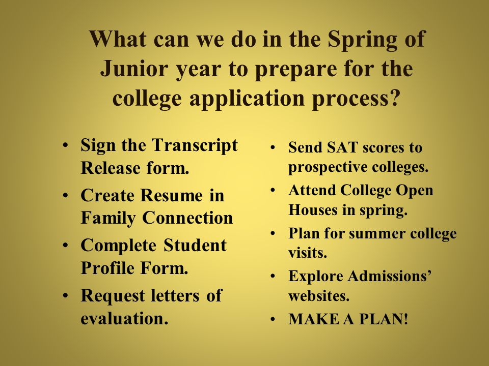 What can we do in the Spring of Junior year to prepare for the college application process