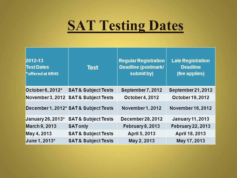 SAT Testing Dates Test 2012-13 Test Dates *offered at KRHS