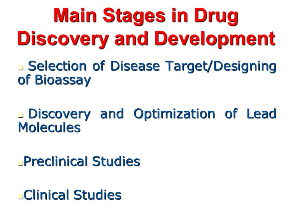 stages of drug discovery pdf