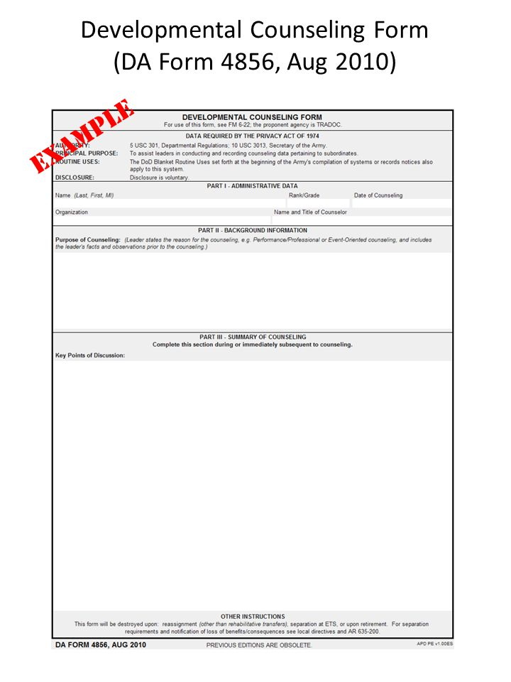 Family Care Plan RankName SFC Gamio Nelson ppt download – Army Counseling Form