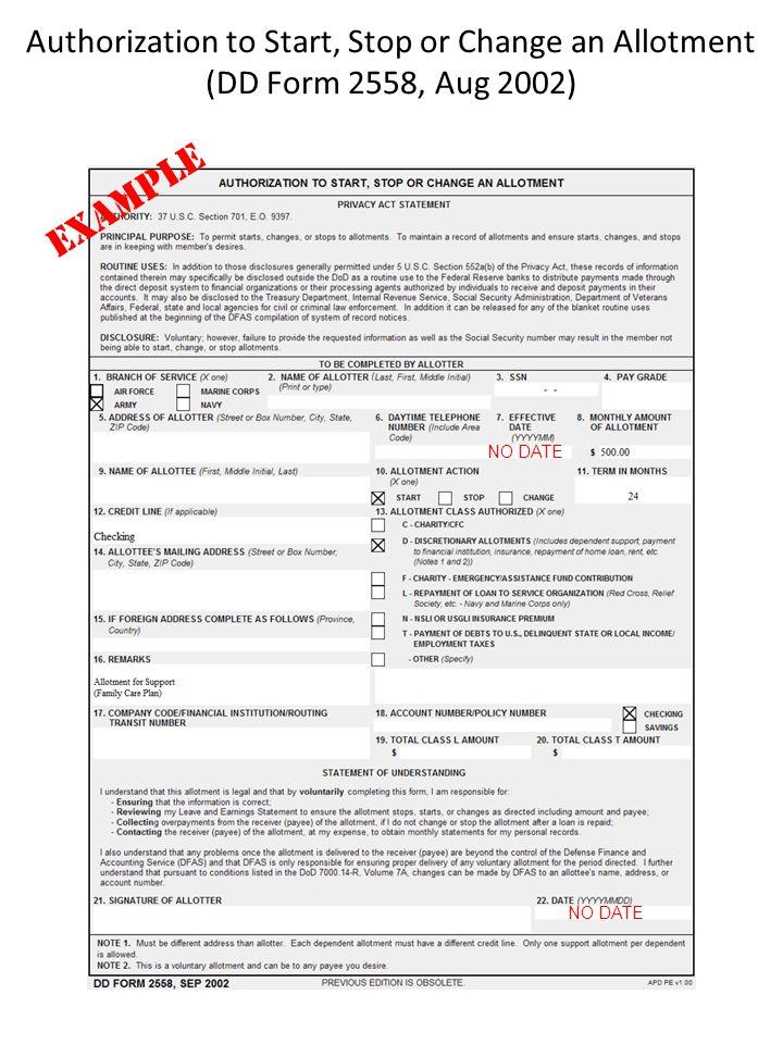 Da Form 2558 Ibovnathandedecker
