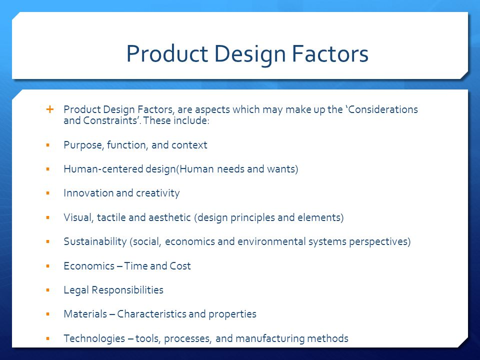 Visual Product Design Considerations