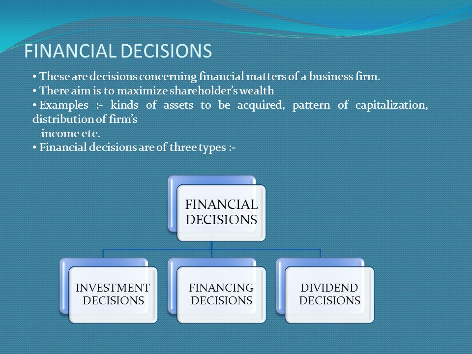 Financing decisions and investment decisions ppt