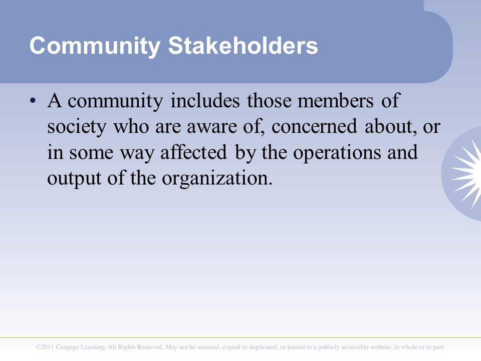 stakeholders are those people and communities Project manager's perception of the local communities' stakeholder in megaprojects an empirical investigation in  those people who  the local communities.