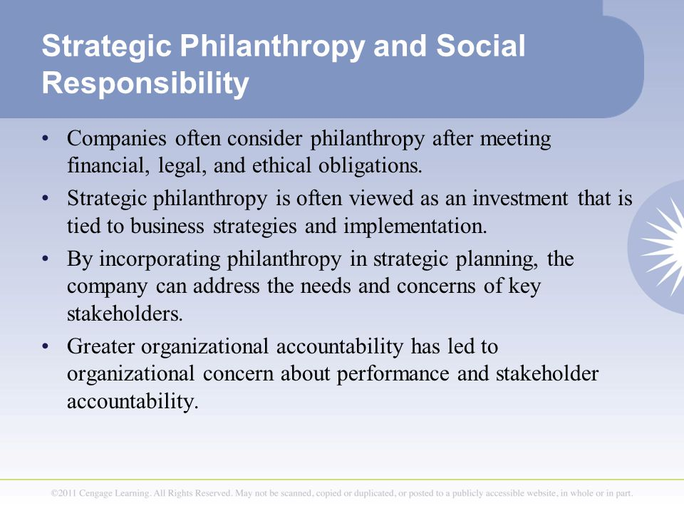strategic philanthropy Strategic philanthropy for individuals & families create more impact as a donor donors who consider philanthropy to be a centerpiece of their values are often focused on their ability to achieve the environmental and social change they seek.