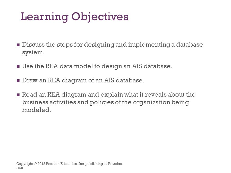 Database design using the rea data model ppt download learning objectives discuss the steps for designing and implementing a database system use the rea ccuart Choice Image