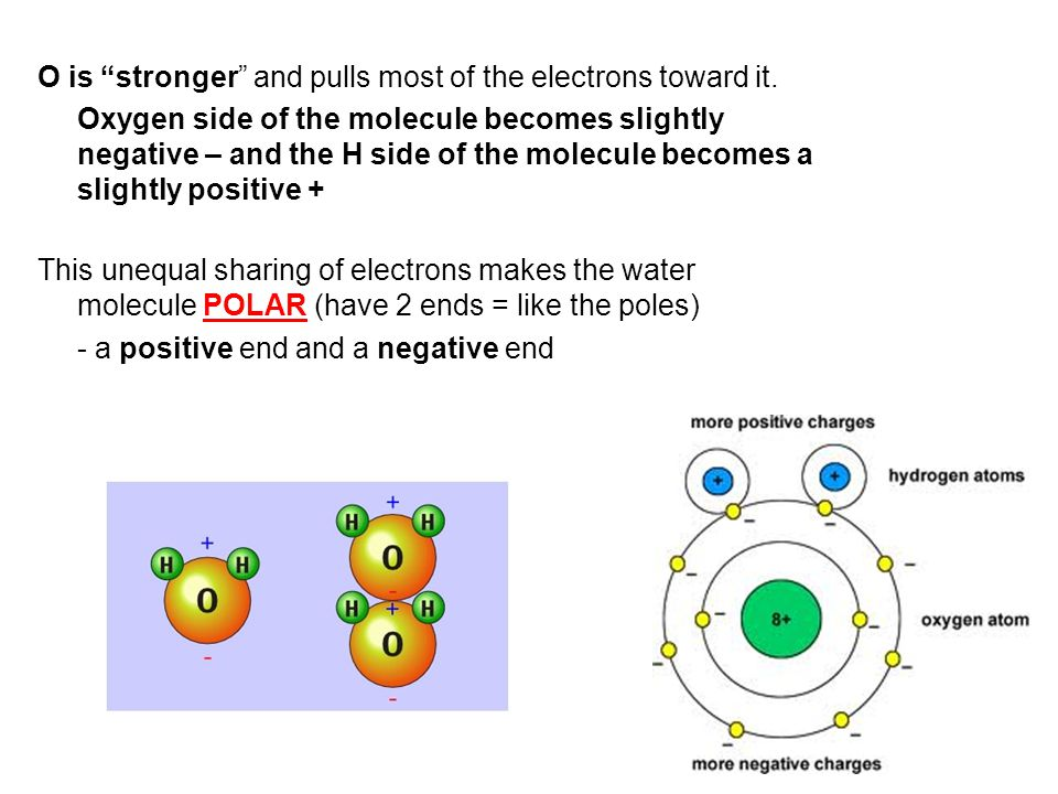 O is stronger and pulls most of the electrons toward it.