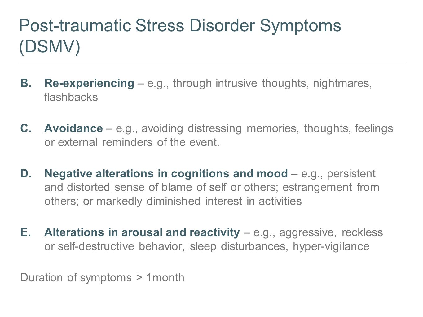 an introduction to the causes and management of post traumatic stress disorder Ptsd, introduction, historical aspect, presentation, dsm criteria, icd 10 criteria   post traumatic stress disorder presenter – dr utkarsh modi  etiology •  ptsd is defined in terms of etiology as much as phenomenology.