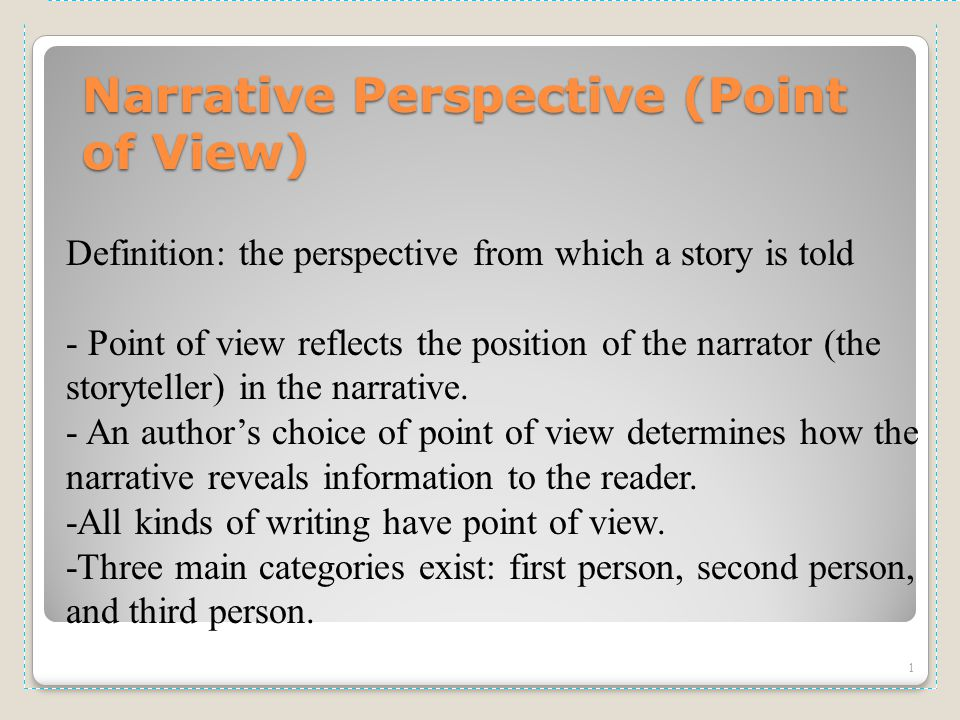 essay on narrative point of view In terms of the narrative's point of view, it sought to provide readers with a more personal view towards the application of the thesis statement it can be seen that the actions were made throughout the paper.