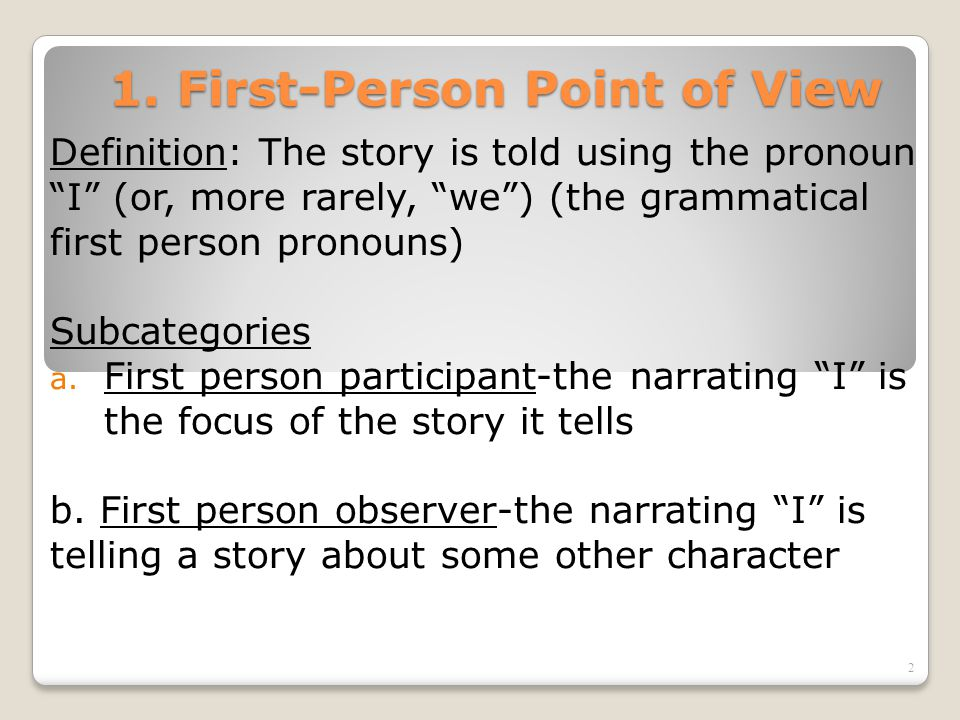 Analysis of the Effects of First Person Narrative Point of View