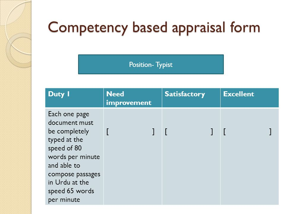 competency appraisal The examples below of competencies may be used in various staff management functions like: planning performance expectations determining training and development needs.