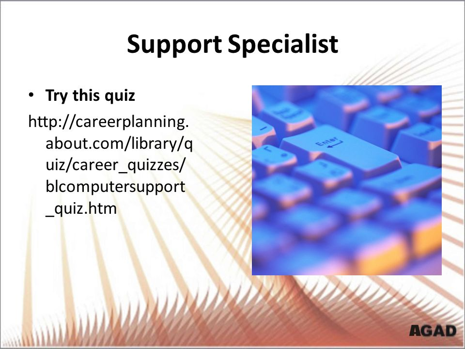 Support Specialist Try this quiz
