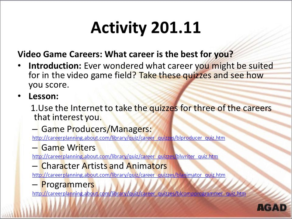 Activity Video Game Careers: What career is the best for you