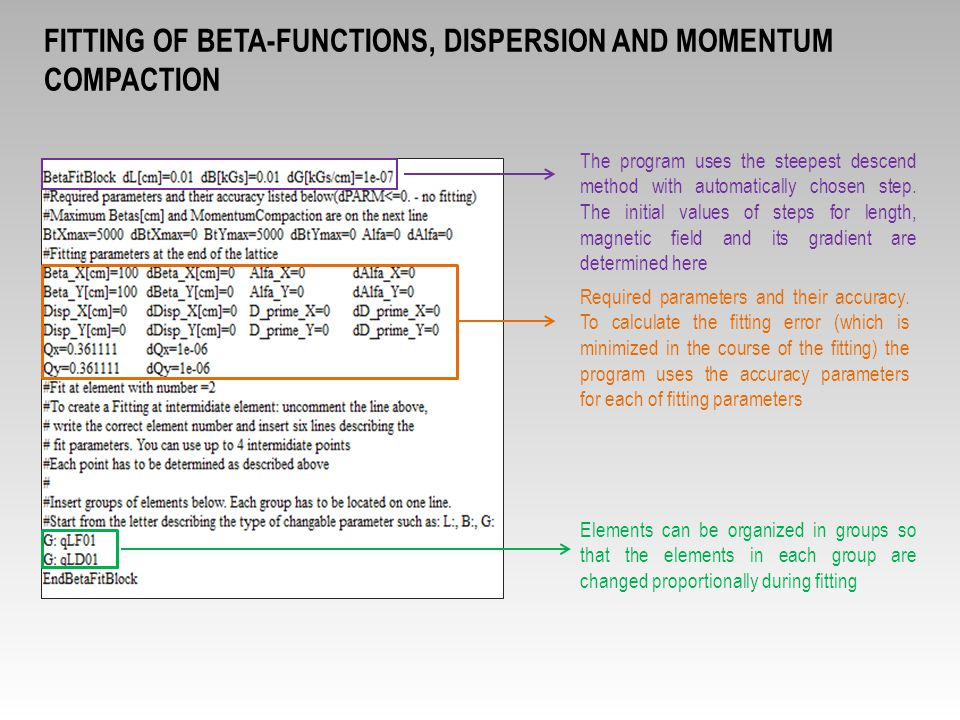 fitting of beta-functions, dispersion and momentum compaction