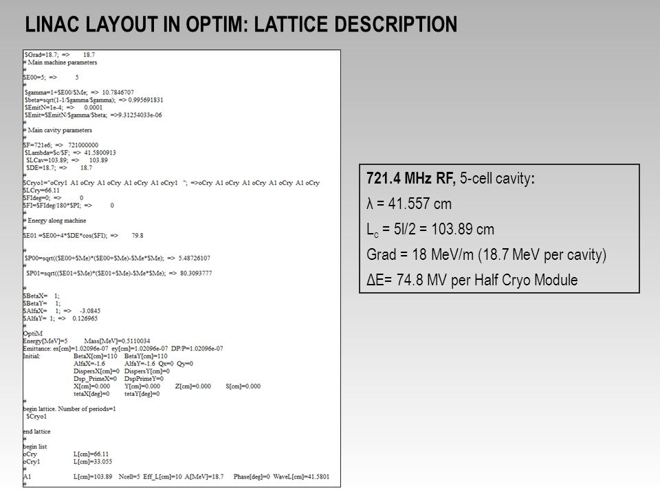 LINAC LAYOUT in OPTIM: Lattice description