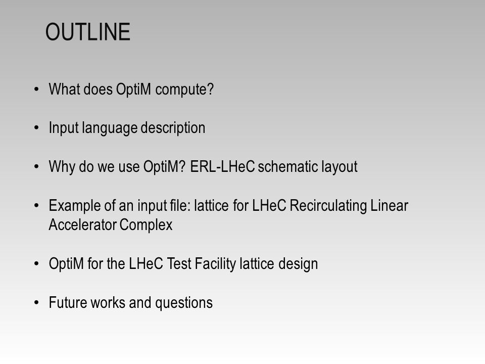 Outline What does OptiM compute Input language description