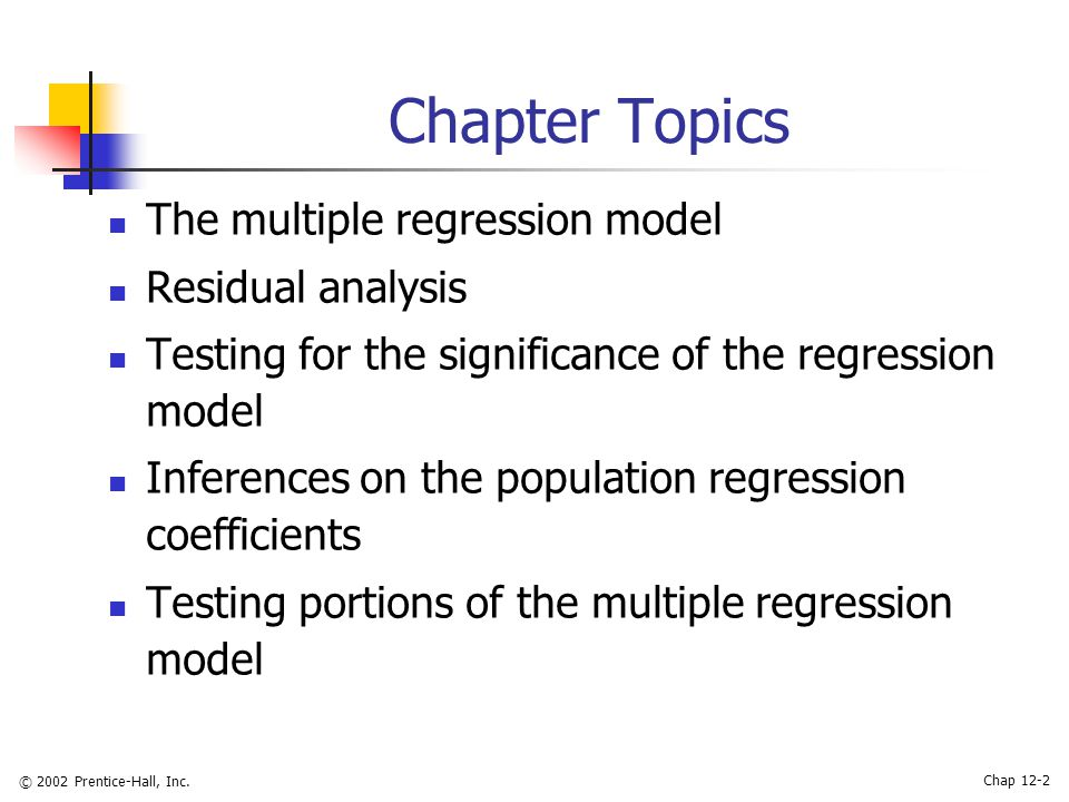 an analysis of the topic of the multiple regressions and multiple correlations Topic 3: correlation and regression september 1 and 6, 2011 in this section, we shall take a careful look at the nature of linear relationships found in the data used to construct a.
