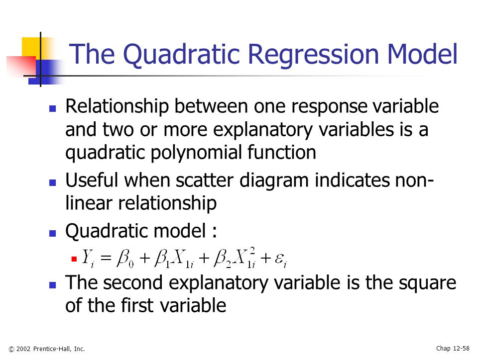 Statistics for Managers Using Microsoft Excel 3rd Edition ppt – Quadratic Regression Worksheet