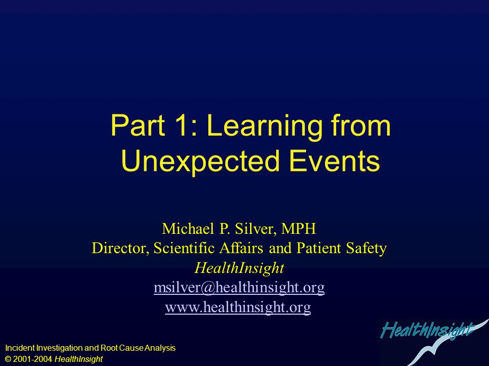 Part 1: Learning from Unexpected Events