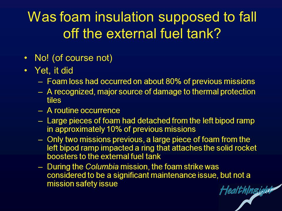 Was foam insulation supposed to fall off the external fuel tank