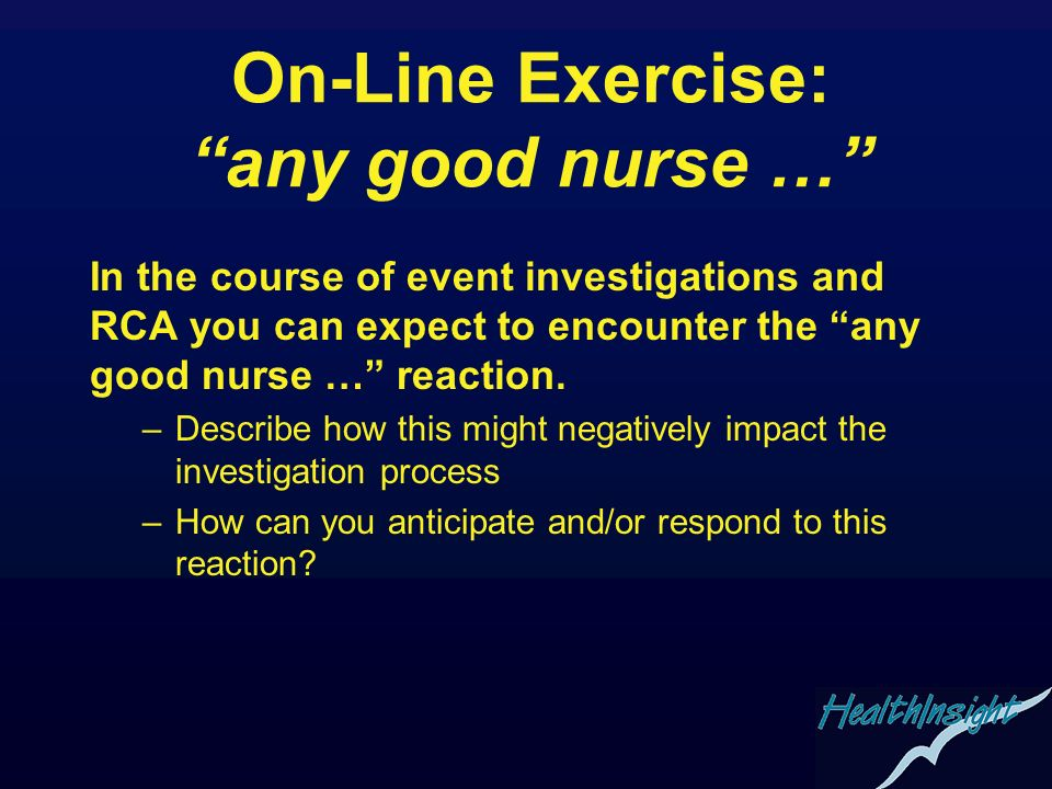 On-Line Exercise: any good nurse …