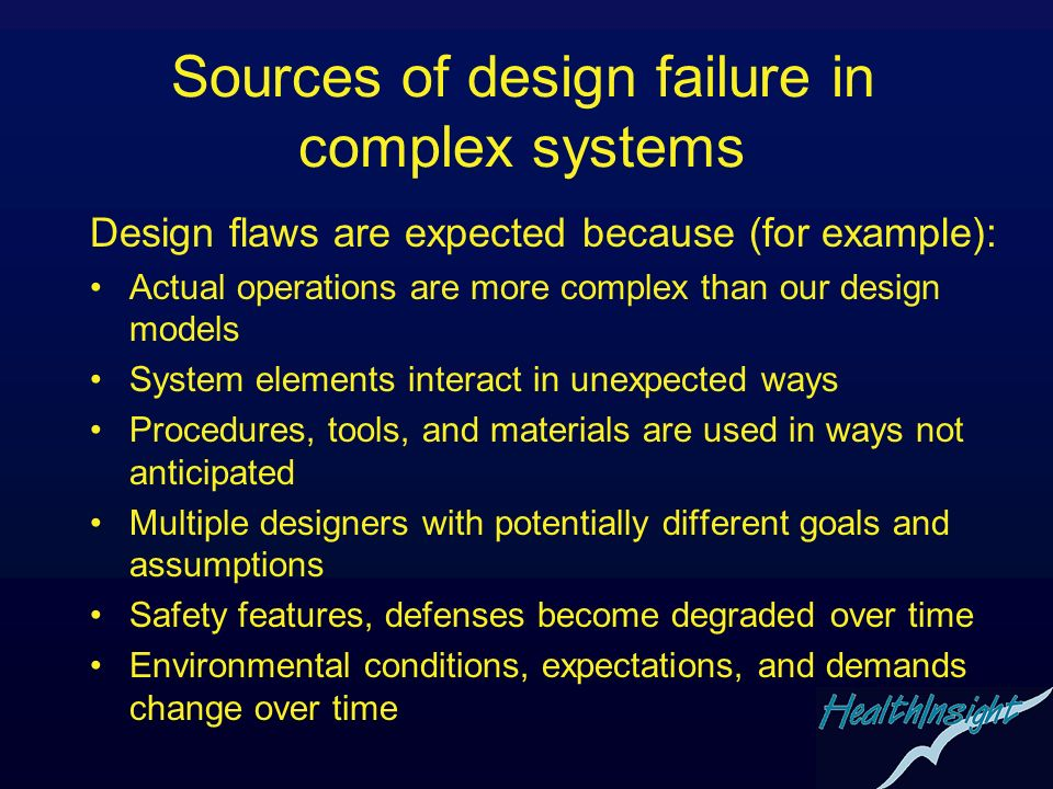 Sources of design failure in complex systems