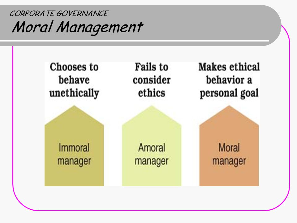 CORPORATE GOVERNANCE Moral Management