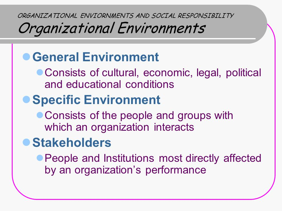 General Environment Specific Environment Stakeholders