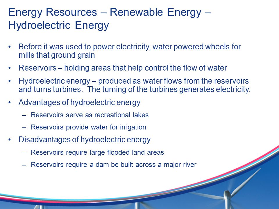 Energy Resources – Renewable Energy – Hydroelectric Energy