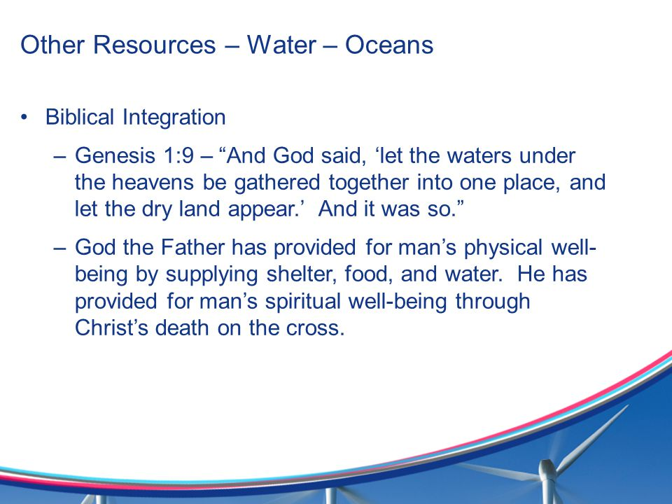 Other Resources – Water – Oceans