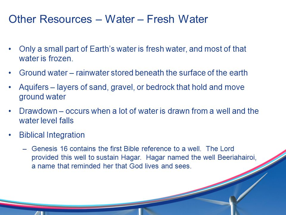 Other Resources – Water – Fresh Water