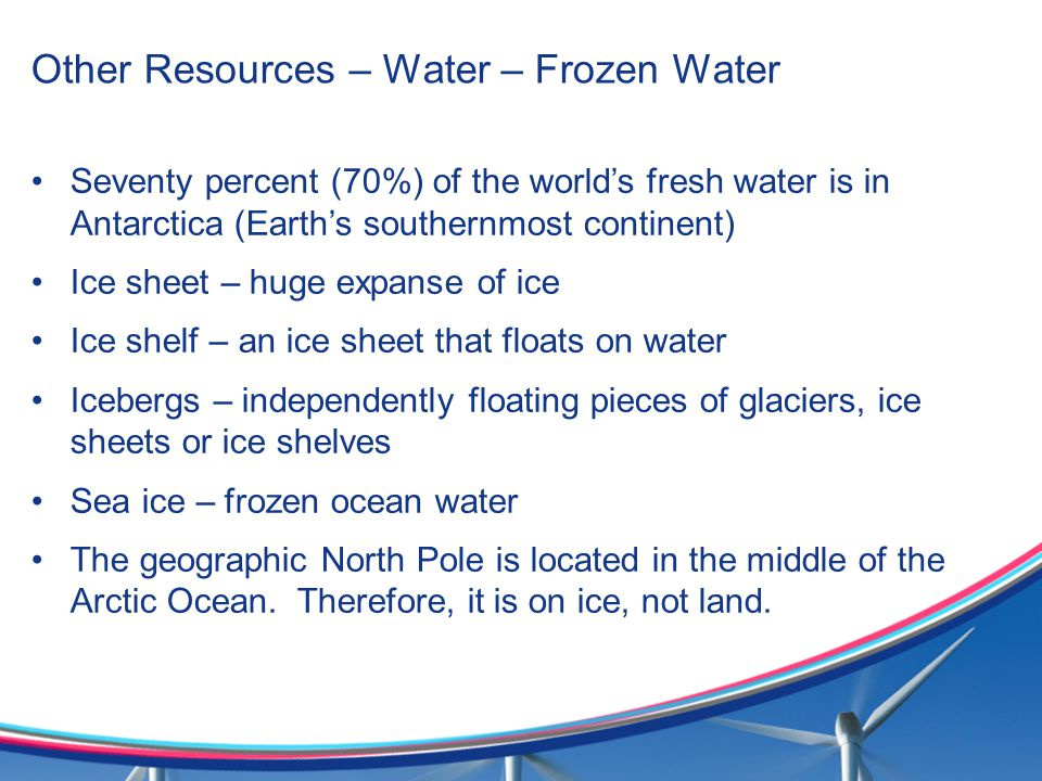 Other Resources – Water – Frozen Water