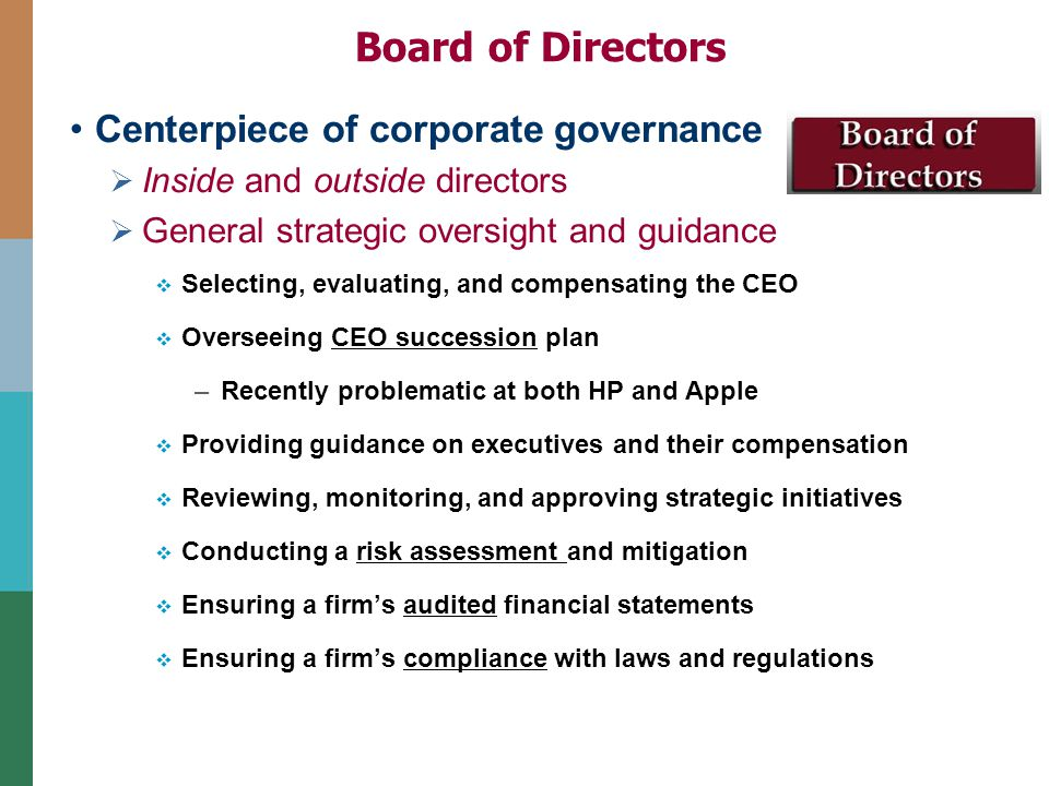 """apple corporate governance Role of the board corporate governance matters the board oversees the company's chief executive officer (the """"ceo"""") and other senior management in the competent and ethical operation of."""