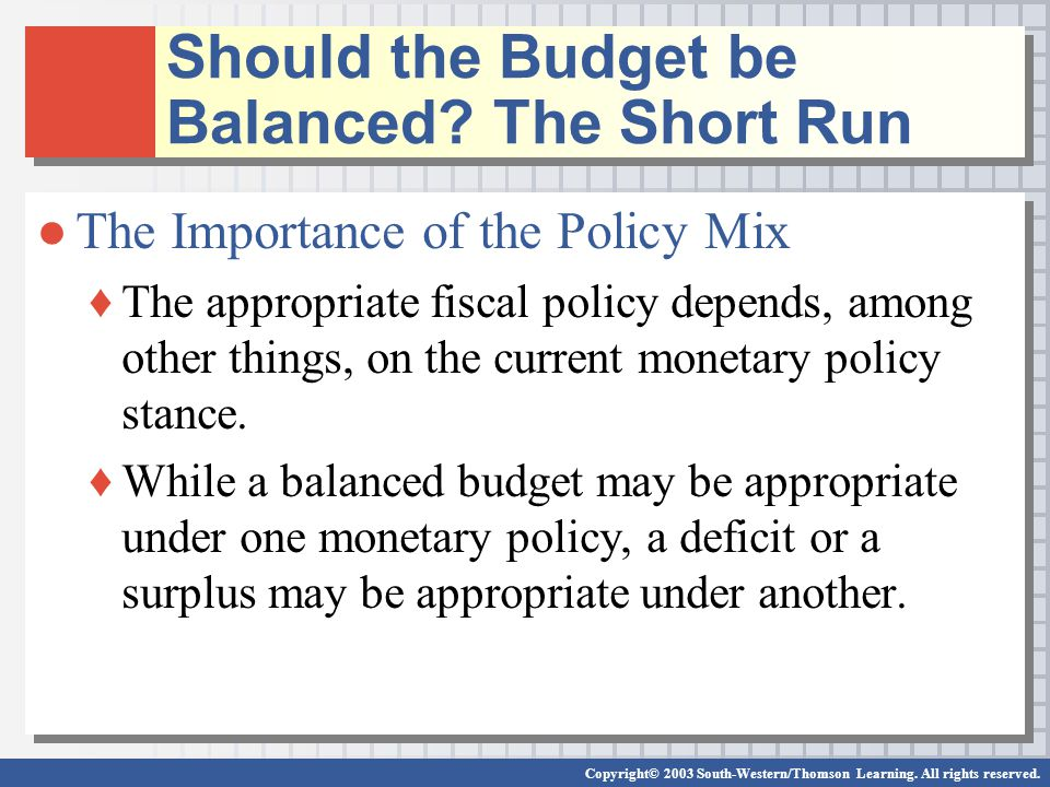an analysis of the importance of balanced budget The legislation—the bipartisan budget act of 2018 (pl 115-123, bba of 2018)—also suspends the government's cap on borrowing through march 2019, and contains a number of health care provisions important to people with medicare and their families.