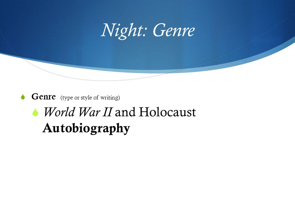 the holocaust and book title night A list of important facts about elie wiesel's night, including setting, climax,   language wiesel first wrote an 800-page text in yiddish titled un di velt hot   wiesel began writing after a ten-year self-imposed vow of silence about the  holocaust  the book then follows his journey through several concentration  camps in.
