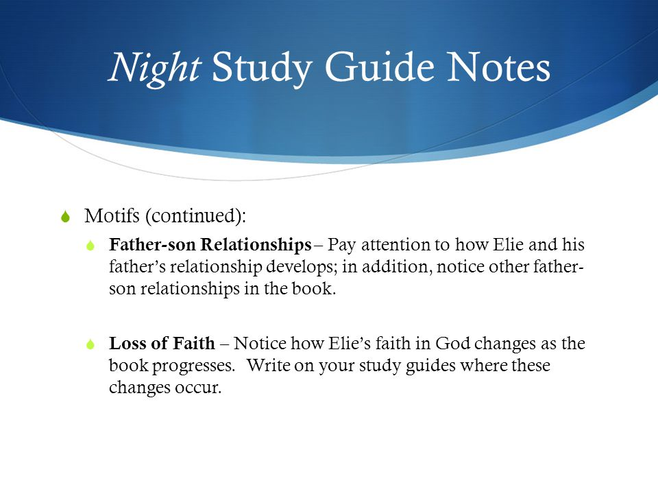 an interesting theme of father son relationship in the novel night by elie wiesel Start studying night questions  how is a father/son relationship a theme in night throughout the novel, we see different father son relationships like the son .