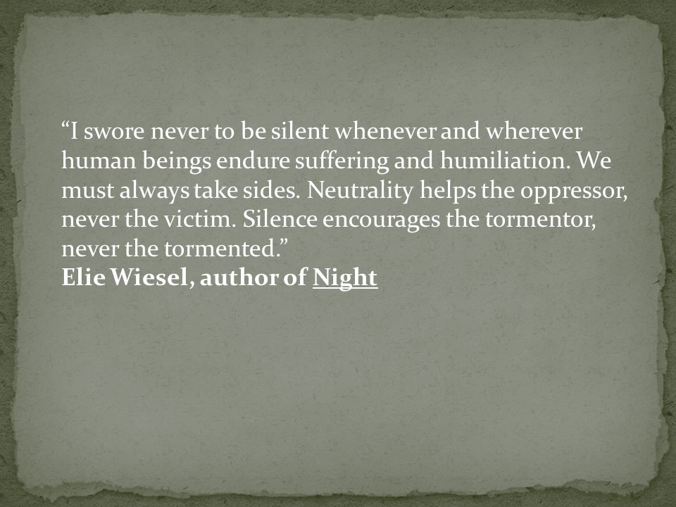an analysis of suffering and holocaust in night by elie wiesel The book night by elie wiesel provides readers with the idea that if the jews had taken a stand against the nazi's night: causes of the holocaust essay.