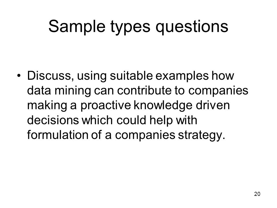 Sample types questions