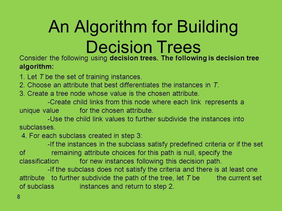 An Algorithm for Building Decision Trees