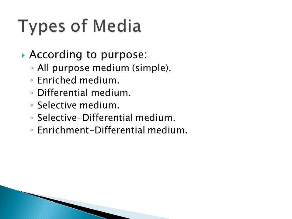 Types of Media According to purpose: All purpose medium (simple).