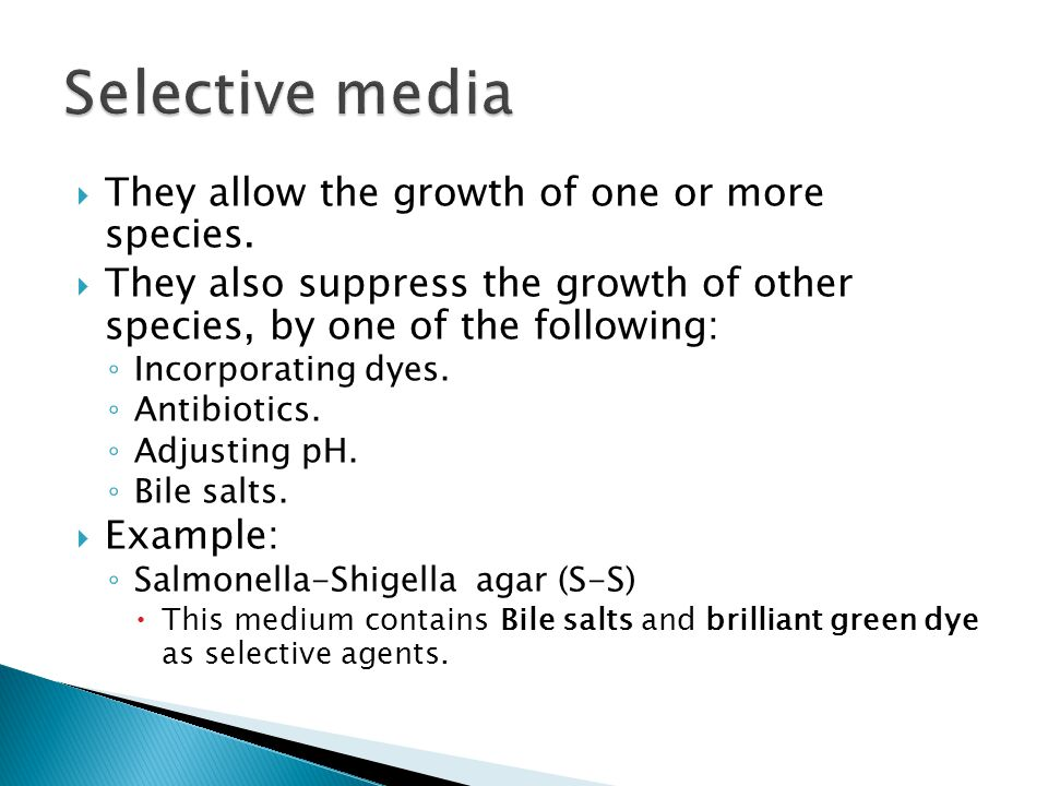 Selective media They allow the growth of one or more species.